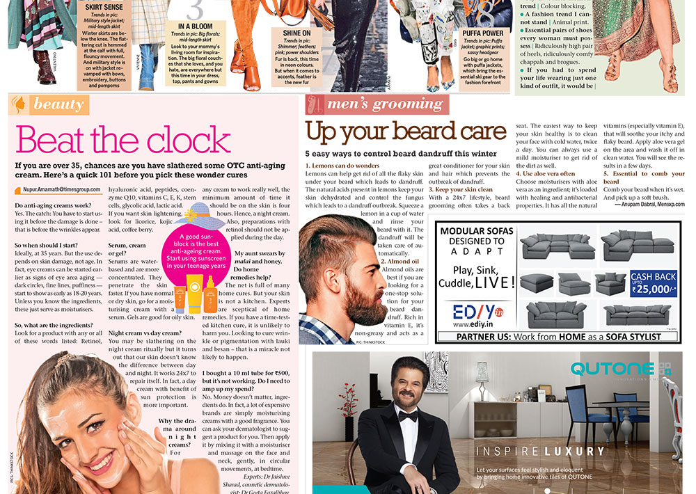 Dr. Geeta's article on Beat the Clock in Times Of India